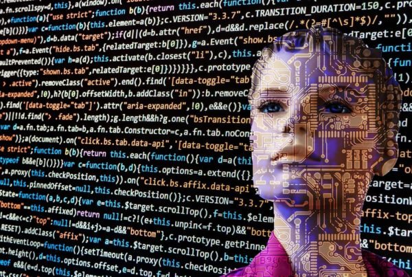 AI robot looking at a wall of code