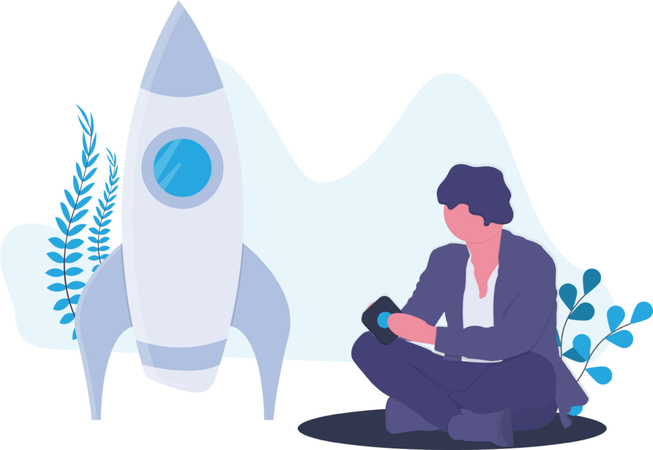 Rocket ship symbolizing boosting conversational solutions