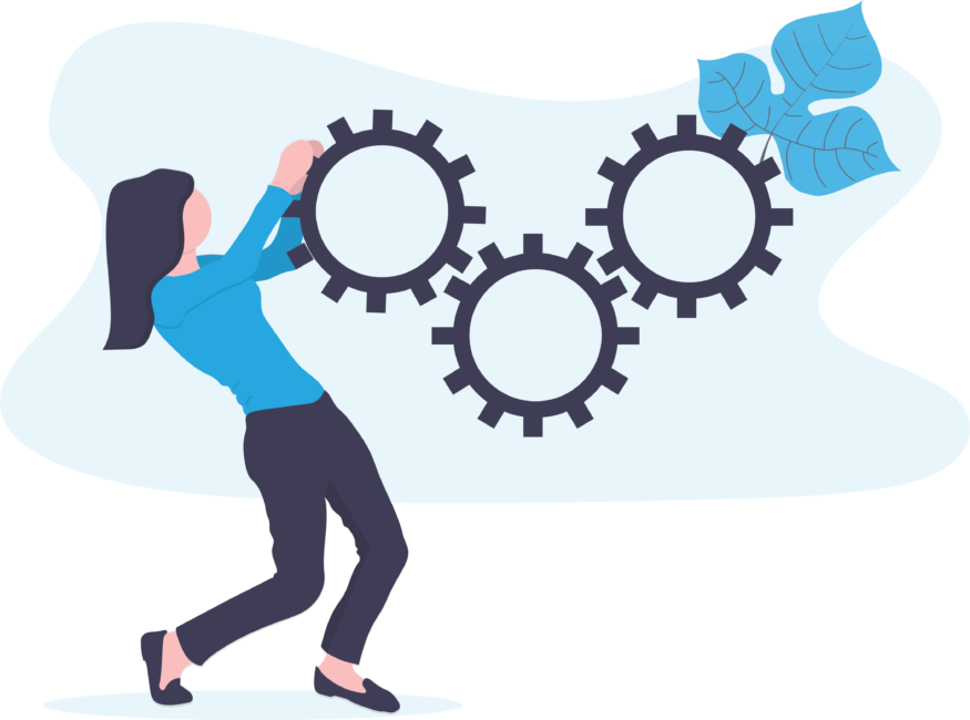 A women working to move a series of gears together