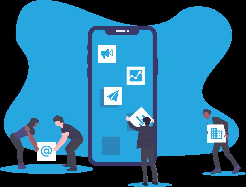 Team putting together marketing element for mobile