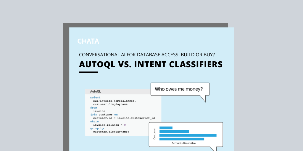 Conversational AI Resources: AutoQL vs. intent classifiers fact sheet cover