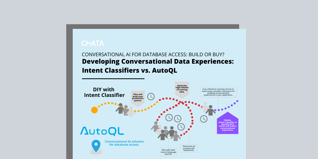 Conversational AI Resources: Infographic building conversational data experiences with an intent classifier versus investing in AutoQL