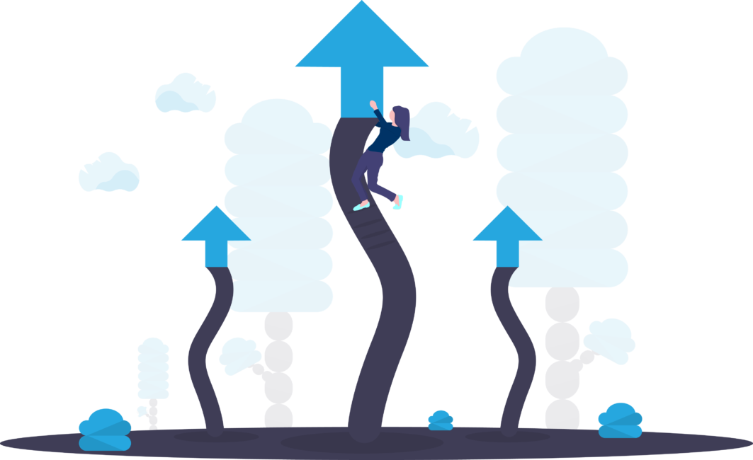 Person achieving business outcomes with conversational AI analytics solutions symbolized by climbing arrows growing towards the sky