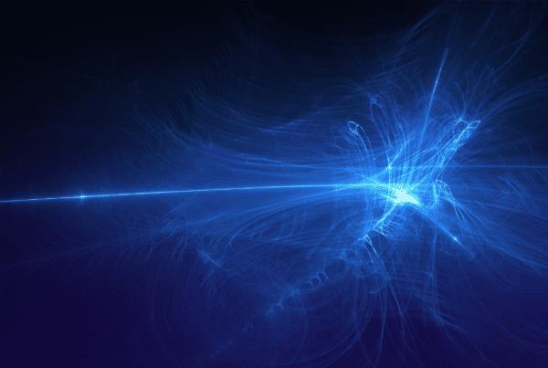 Beyond Digital Transformation 2021 header image blue light on black background